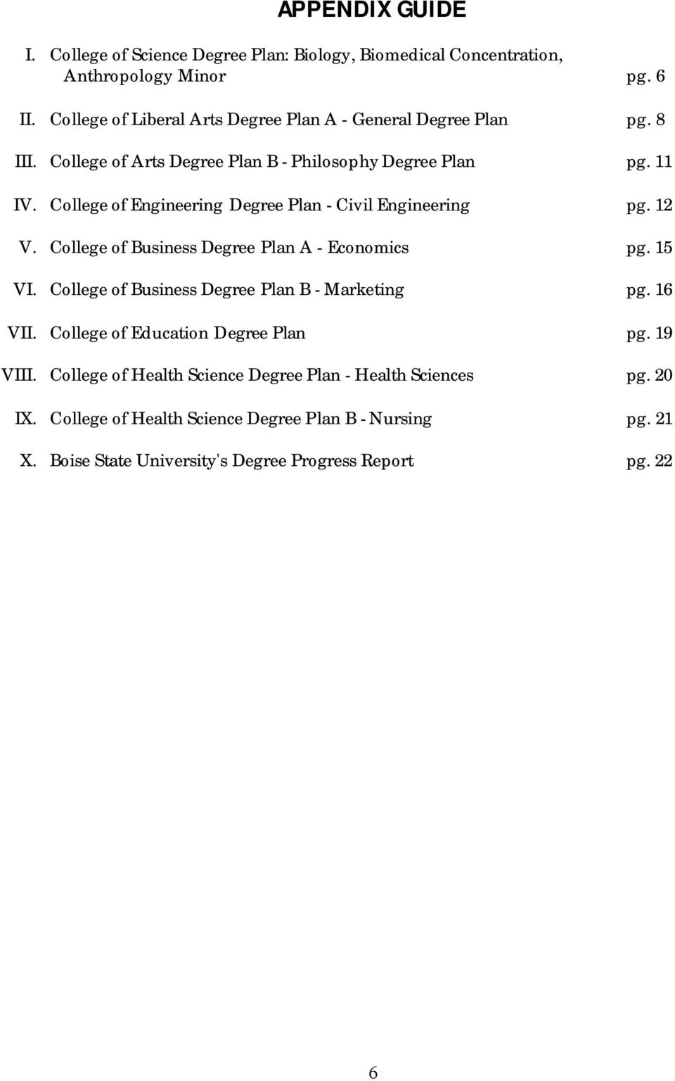 College of Engineering Degree Plan - Civil Engineering pg. 12 V. College of Business Degree Plan A - Economics pg. 15 VI.