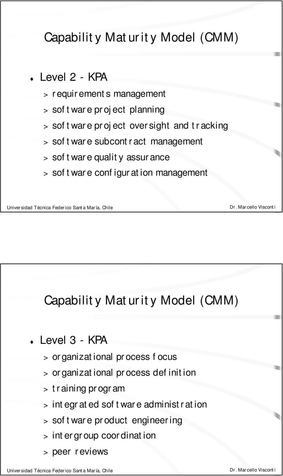 management Capability Maturity Model (CMM) Level 3 - KPA > organizational process focus > organizational process