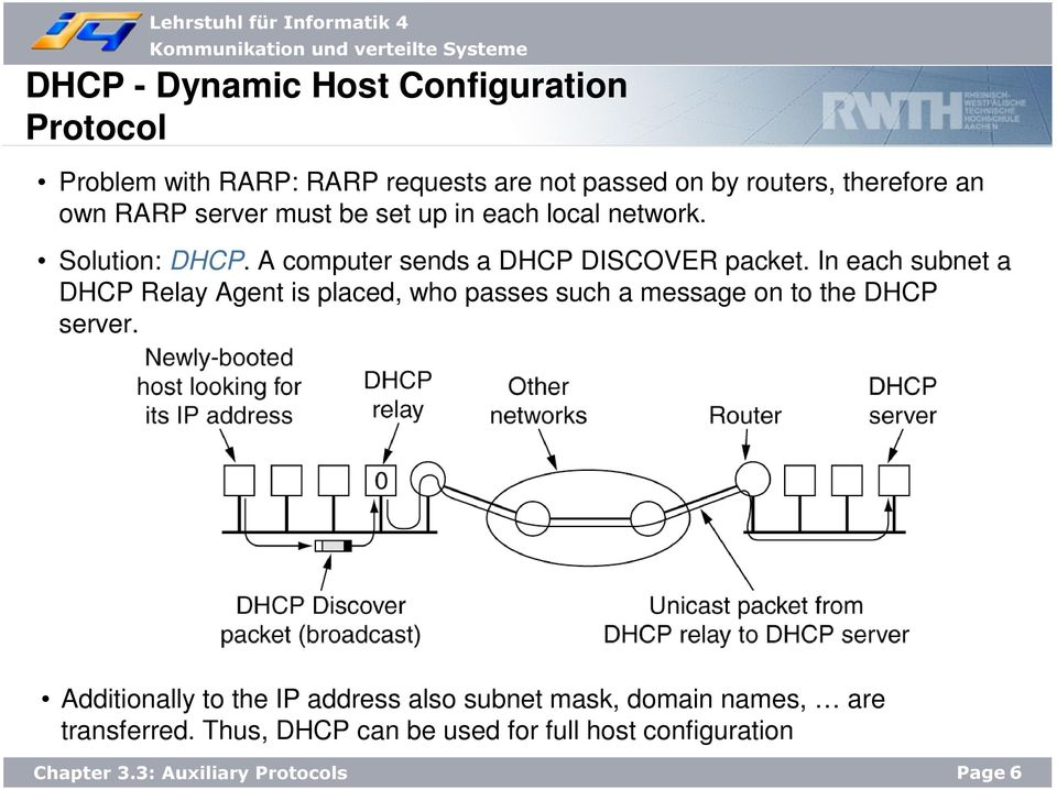 In each subnet a DHCP Relay Agent is placed, who passes such a message on to the DHCP server.