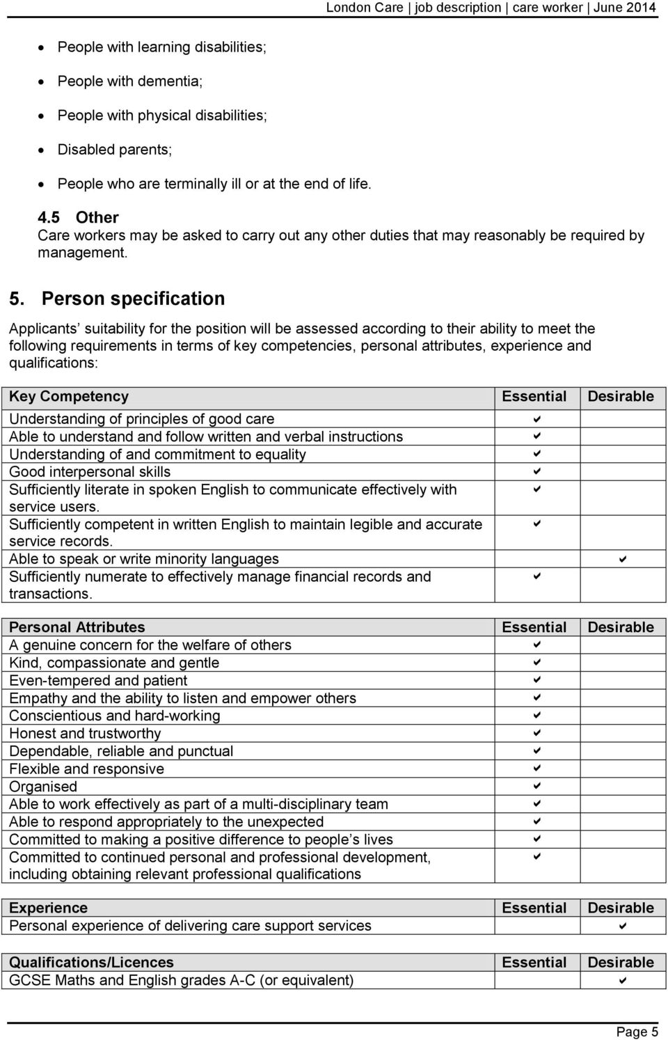 Person specification Applicants suitability for the position will be assessed according to their ability to meet the following requirements in terms of key competencies, personal attributes,