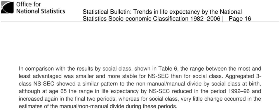 Aggregated 3- class NS-SEC showed a similar pattern to the non-manual/manual divide by social class at birth, although at age 65 the range in life
