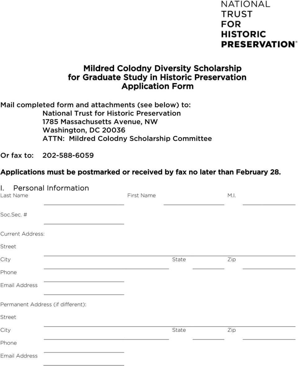 Committee Or fax to: 202-588-6059 Applications must be postmarked or received by fax no later than February 28. I.