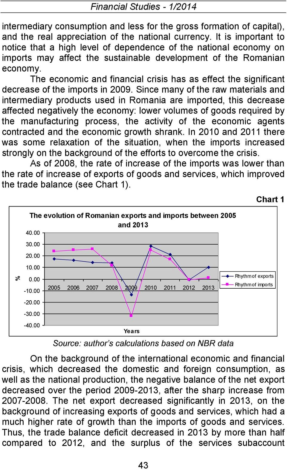 The economic and financial crisis has as effect the significant decrease of the imports in 2009.