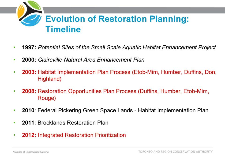 Don, Highland) 2008: Restoration Opportunities Plan Process (Duffins, Humber, Etob-Mim, Rouge) 2010: Federal Pickering