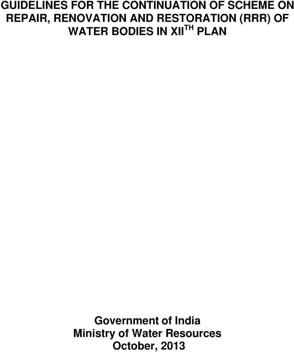 WATER BODIES IN XII TH PLAN Government of