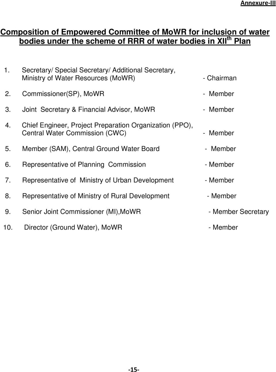 Chief Engineer, Project Preparation Organization (PPO), Central Water Commission (CWC) - Member 5. Member (SAM), Central Ground Water Board - Member 6.