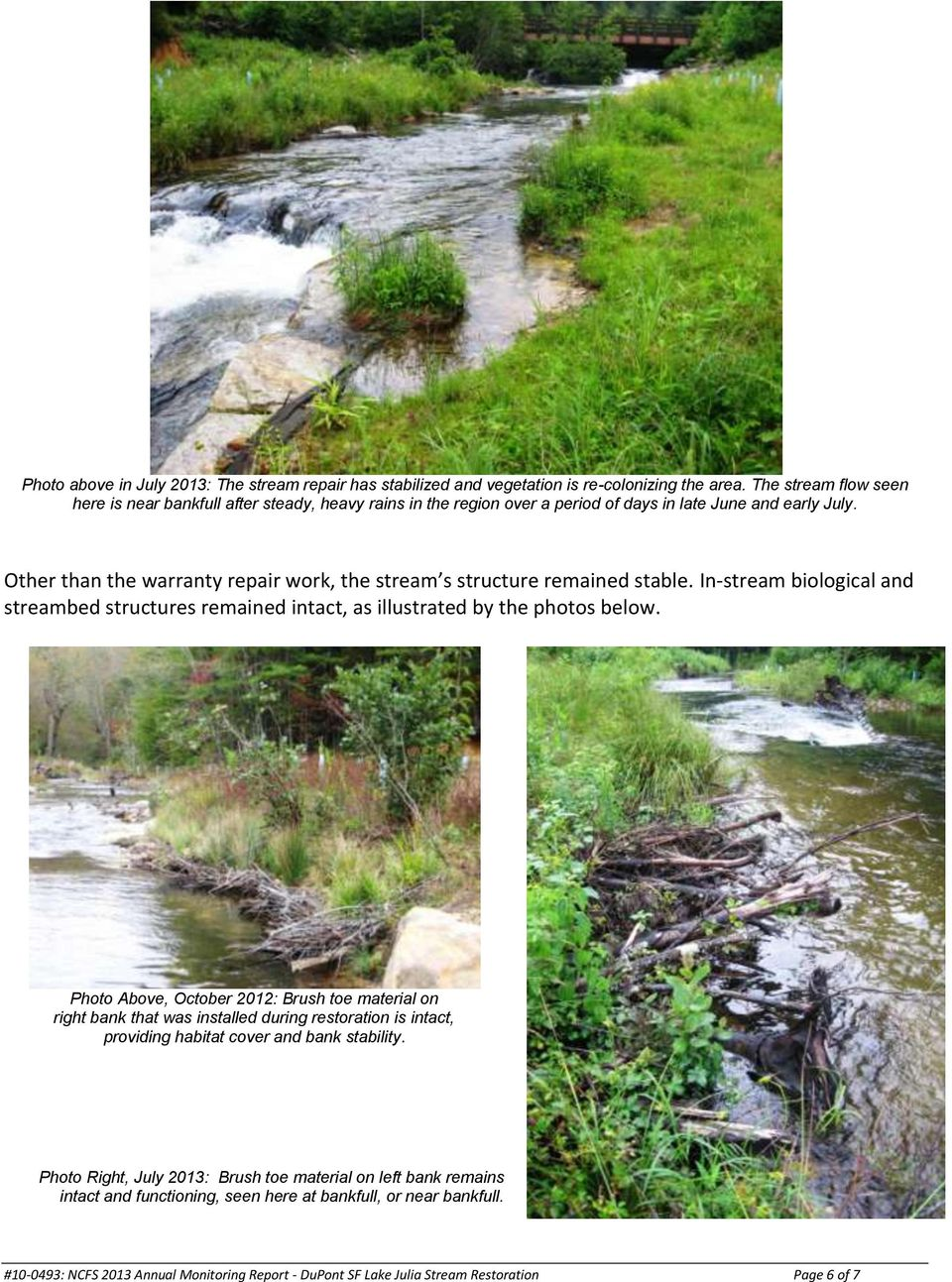 Other than the warranty repair work, the stream s structure remained stable. In-stream biological and streambed structures remained intact, as illustrated by the photos below.
