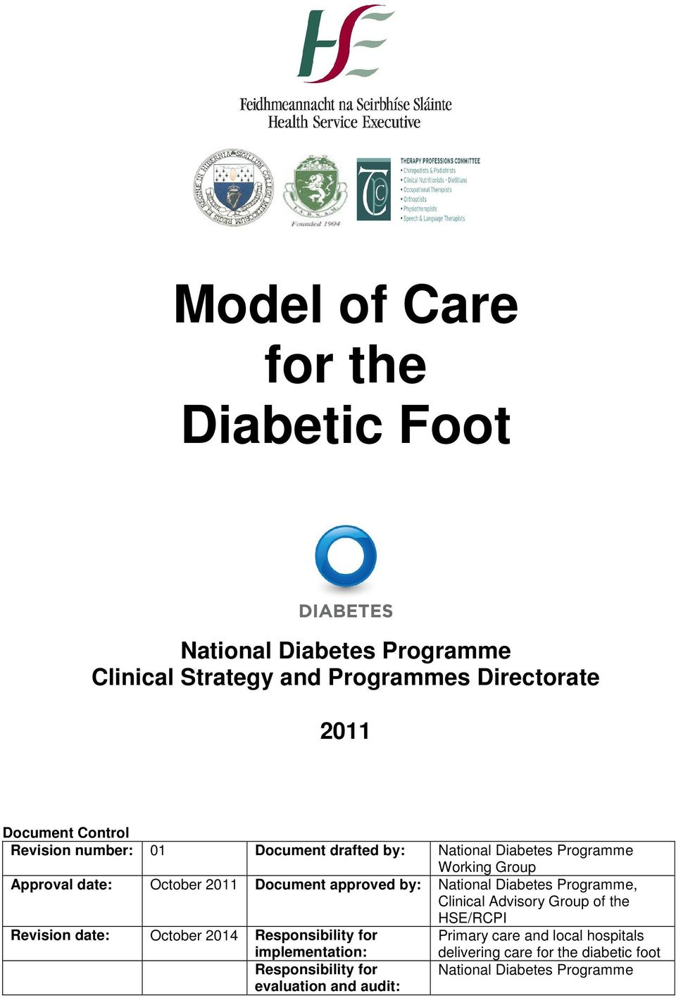 National Diabetes Programme, Clinical Advisory Group of the HSE/RCPI Revision date: October 2014 Responsibility for Primary care and