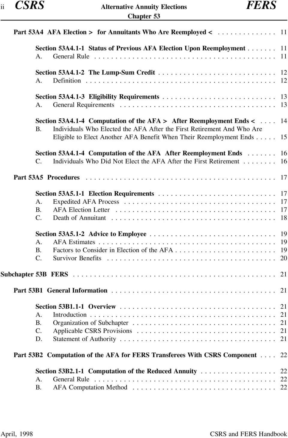 1-4 Computation of the AFA > After Reemployment Ends <.... 14 B.
