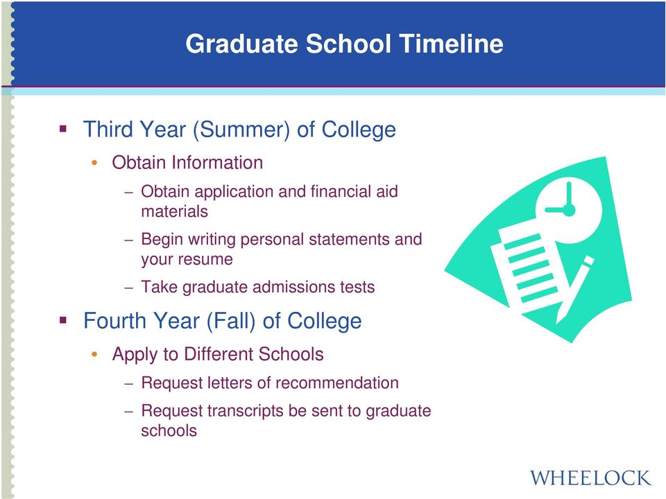 resume Take graduate admissions tests Fourth Year (Fall) of College Apply to