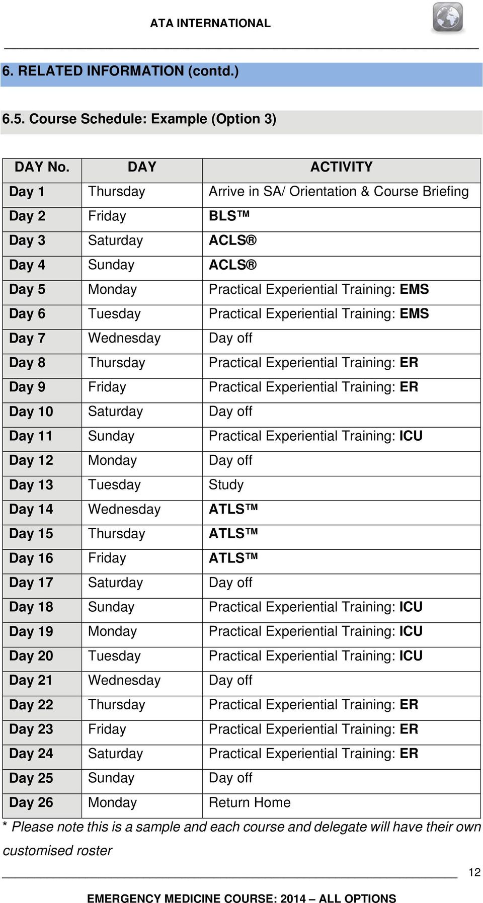 Practical Experiential Training: EMS Day 7 Wednesday Day off Day 8 Thursday Practical Experiential Training: ER Day 9 Friday Practical Experiential Training: ER Day 10 Saturday Day off Day 11 Sunday