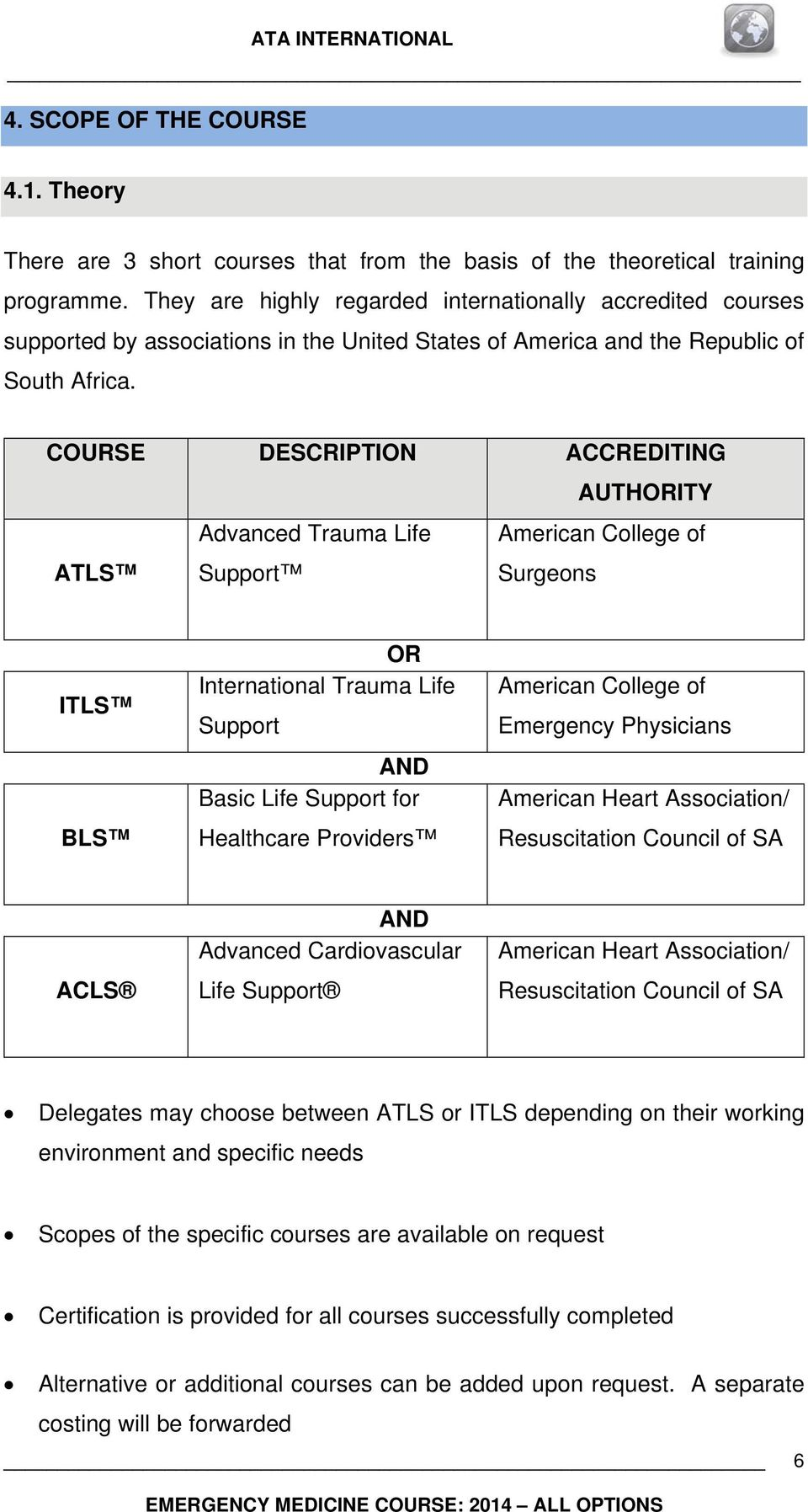 COURSE DESCRIPTION ACCREDITING AUTHORITY ATLS Advanced Trauma Life Support American College of Surgeons ITLS BLS OR International Trauma Life Support AND Basic Life Support for Healthcare Providers