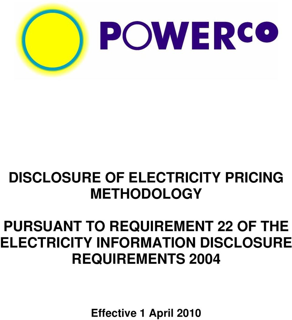 OF THE ELECTRICITY INFORMATION