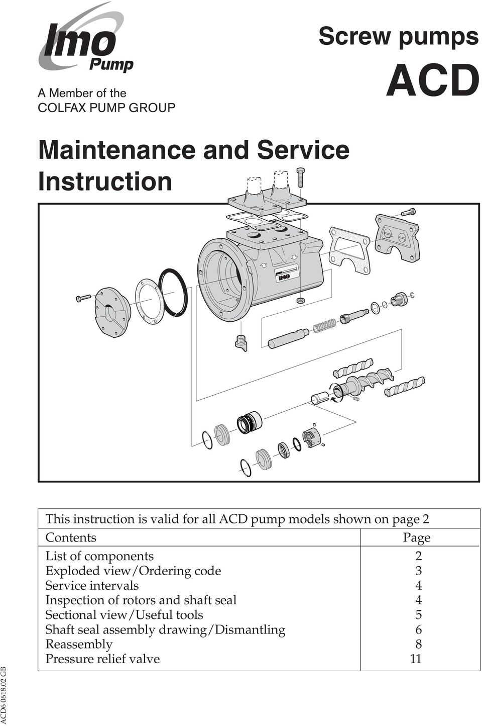 view/ordering code 3 Service intervals 4 Inspection of rotors and shaft seal 4