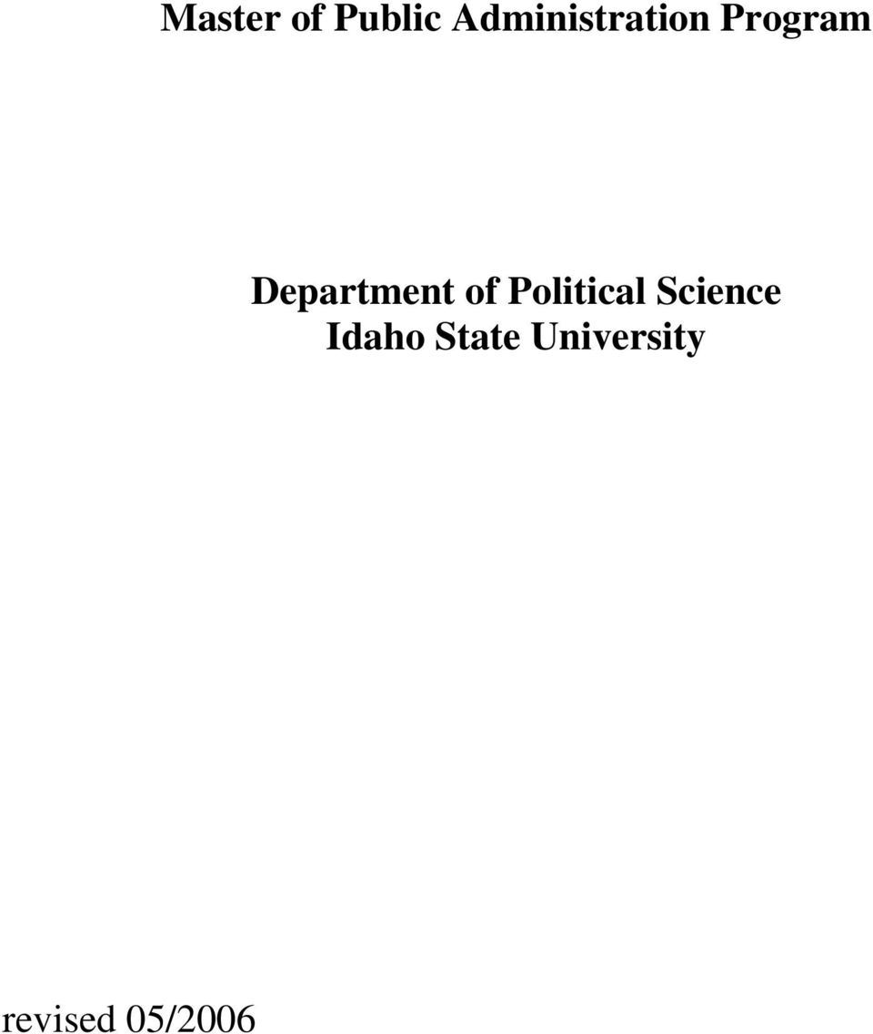 Program Idaho State