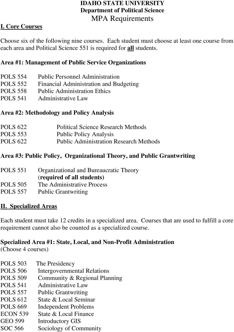 Area #1: Management of Public Service Organizations POLS 554 POLS 552 POLS 558 POLS 541 Public Personnel Administration Financial Administration and Budgeting Public Administration Ethics