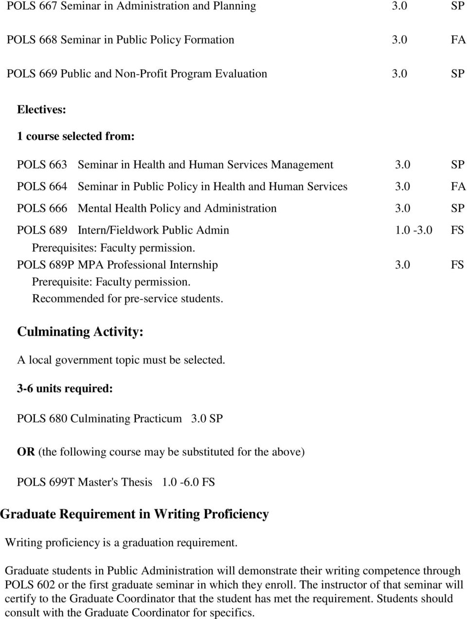 0 FA POLS 666 Mental Health Policy and Administration 3.0 SP POLS 689 Intern/Fieldwork Public Admin 1.0-3.0 FS Prerequisites: Faculty permission. POLS 689P MPA Professional Internship 3.