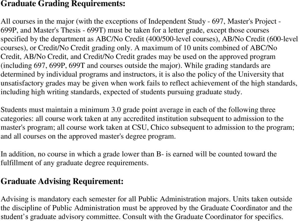 A maximum of 10 units combined of ABC/No Credit, AB/No Credit, and Credit/No Credit grades may be used on the approved program (including 697, 699P, 699T and courses outside the major).
