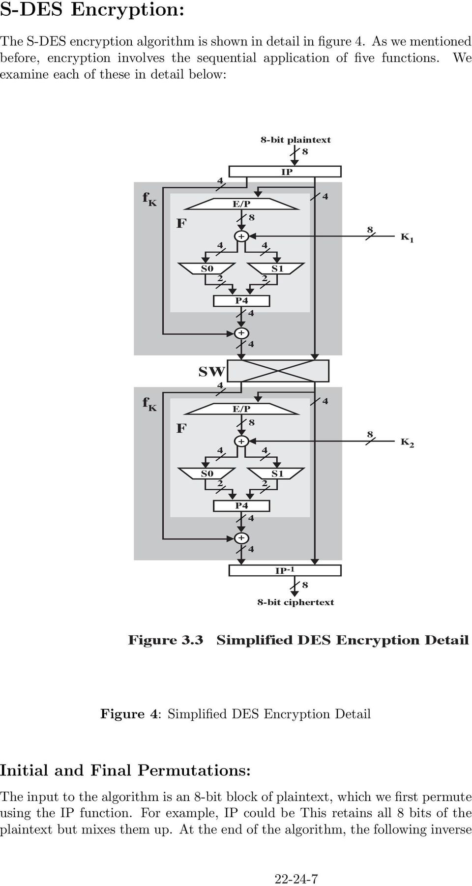 3 Simplified DES Encryption Detail Figure : Simplified DES Encryption Detail Initial and Final Permutations: The input to the algorithm is an 8-bit block of plaintext, which