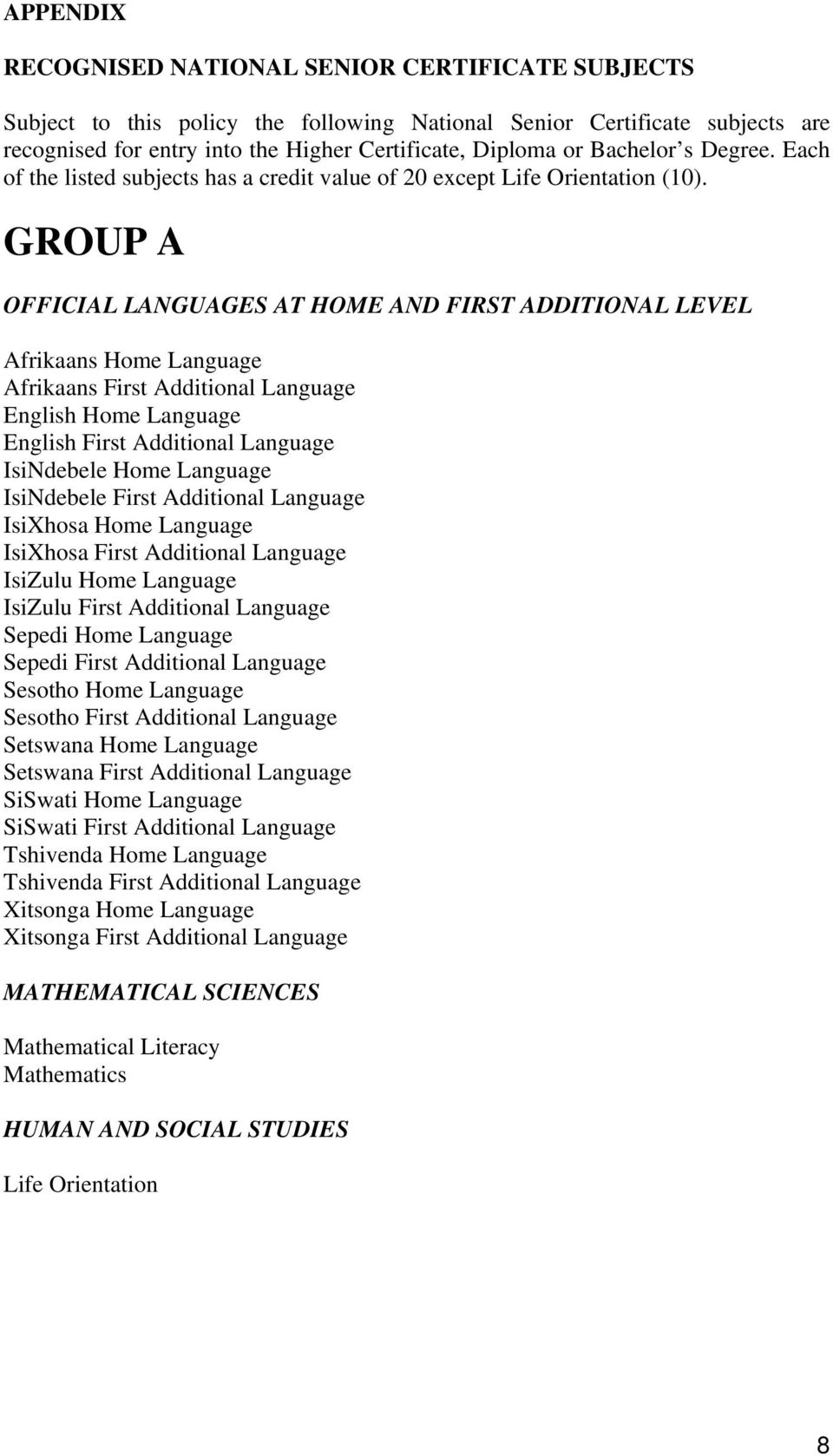 GROUP A OFFICIAL LANGUAGES AT HOME AND FIRST ADDITIONAL LEVEL Afrikaans Home Language Afrikaans First Additional Language English Home Language English First Additional Language IsiNdebele Home