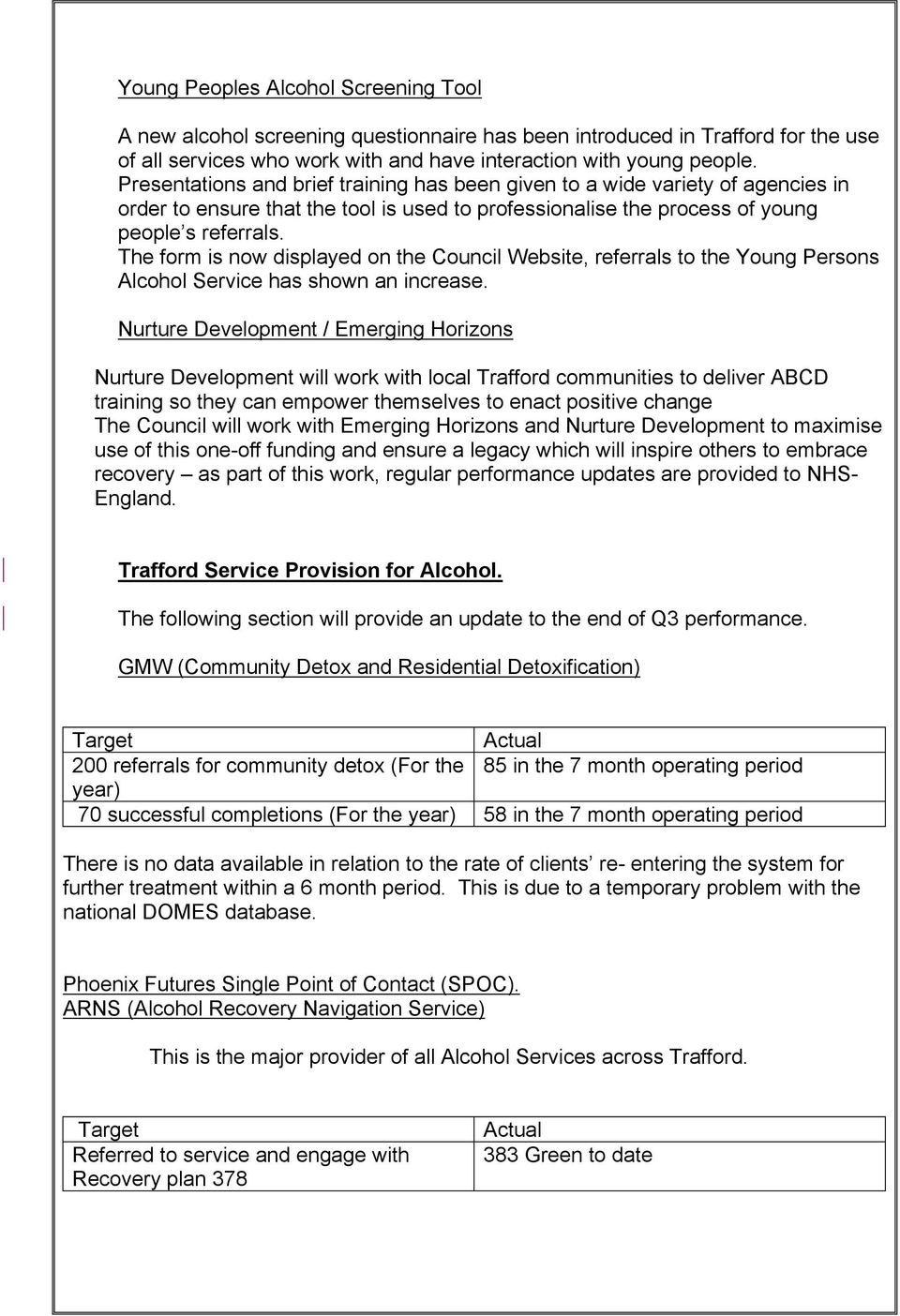 The form is now displayed on the Council Website, referrals to the Young Persons Alcohol Service has shown an increase.
