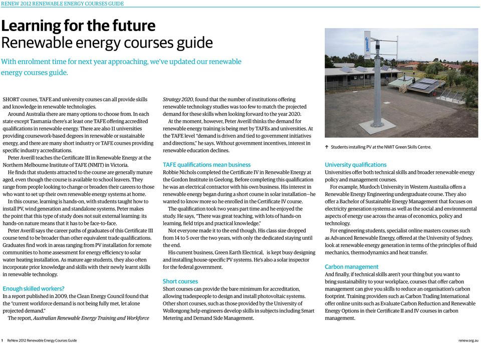 Learning for the future Renewable energy courses guide - PDF