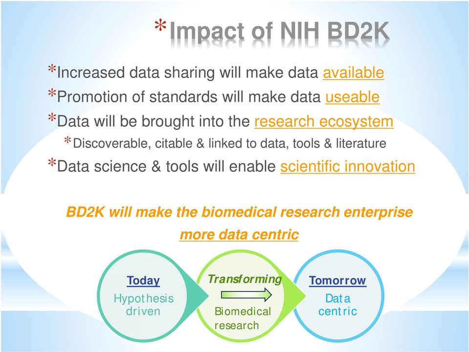 tools & literature *Data science & tools will enable scientific innovation BD2K will make the biomedical