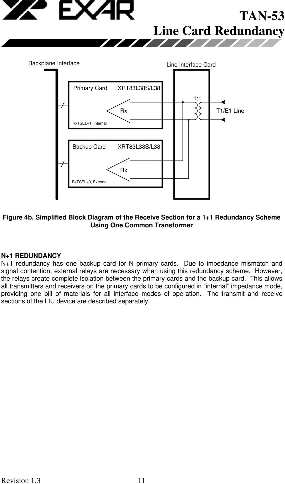 Due to impedance mismatch and signal contention, external relays are necessary when using this redundancy scheme.