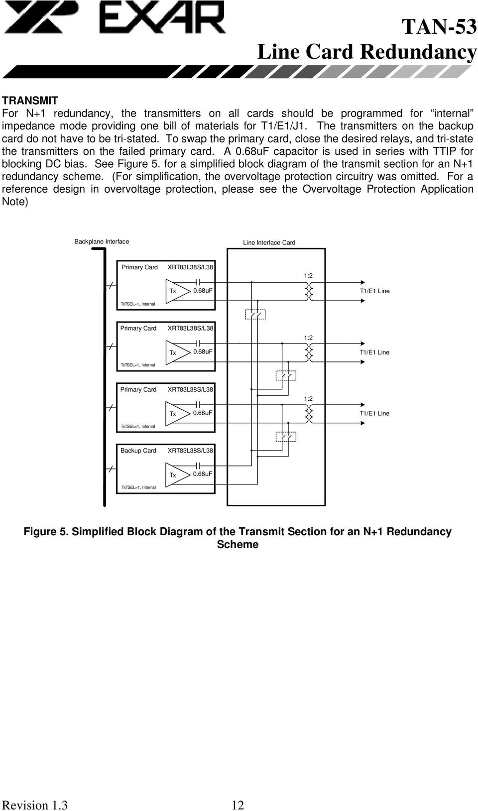 A capacitor is used in series with TTIP for blocking DC bias. See Figure 5. for a simplified block diagram of the transmit section for an N+1 redundancy scheme.