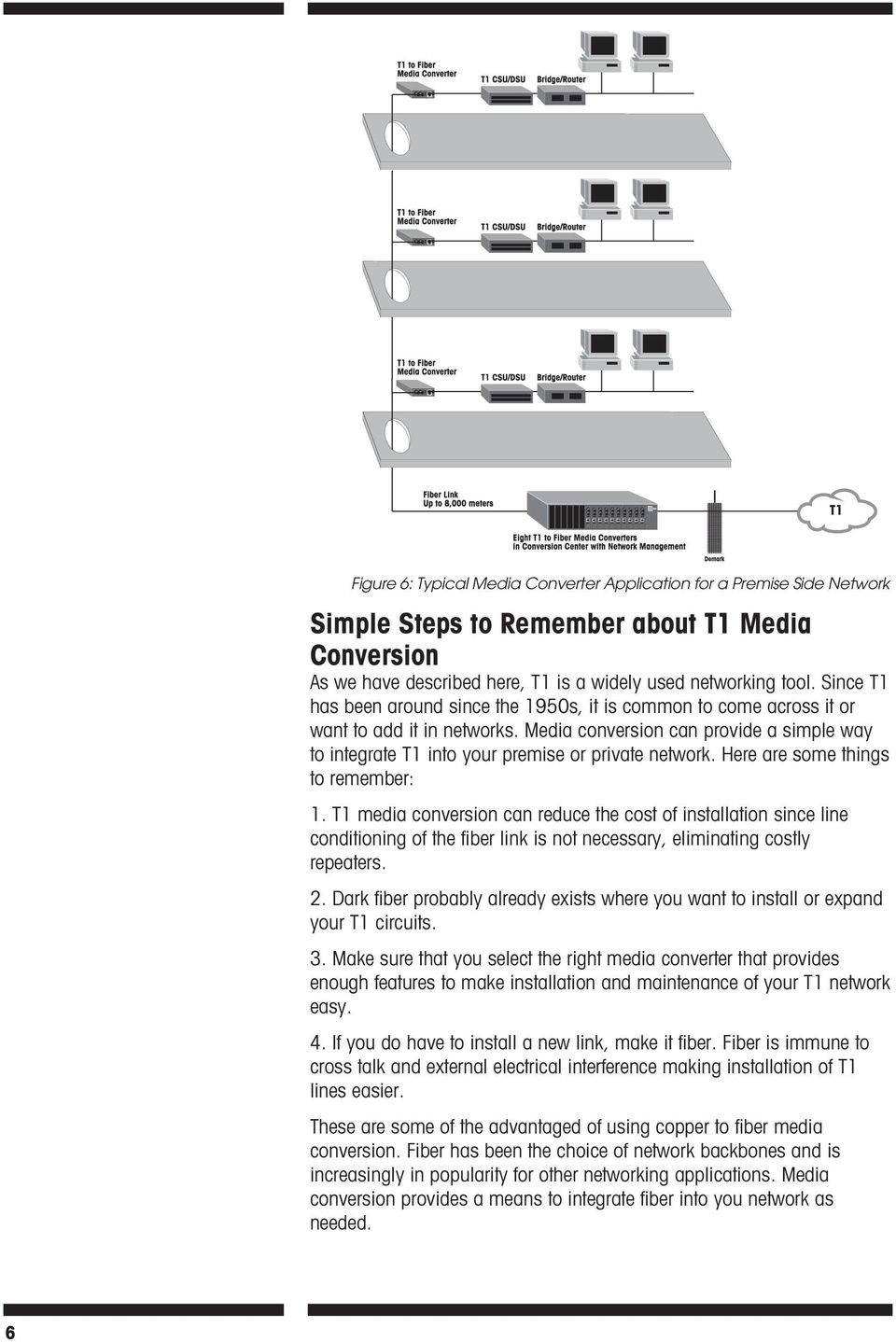 Here are some things to remember: 1. T1 media conversion can reduce the cost of installation since line conditioning of the fiber link is not necessary, eliminating costly repeaters. 2.