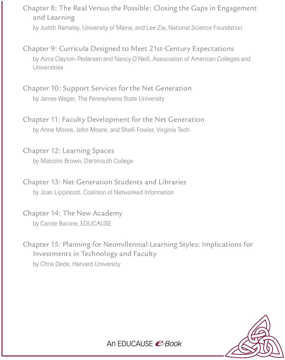 Pennsylvania State University Chapter 11: Faculty Development for the Net Generation by Anne Moore, John Moore, and Shelli Fowler, Virginia Tech Chapter 12: Learning Spaces by Malcolm Brown,