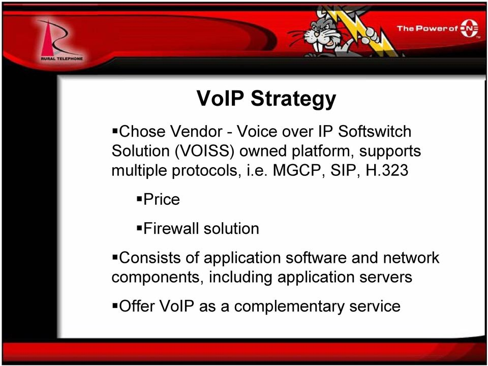 323 Price VoIP Strategy Firewall solution Consists of application