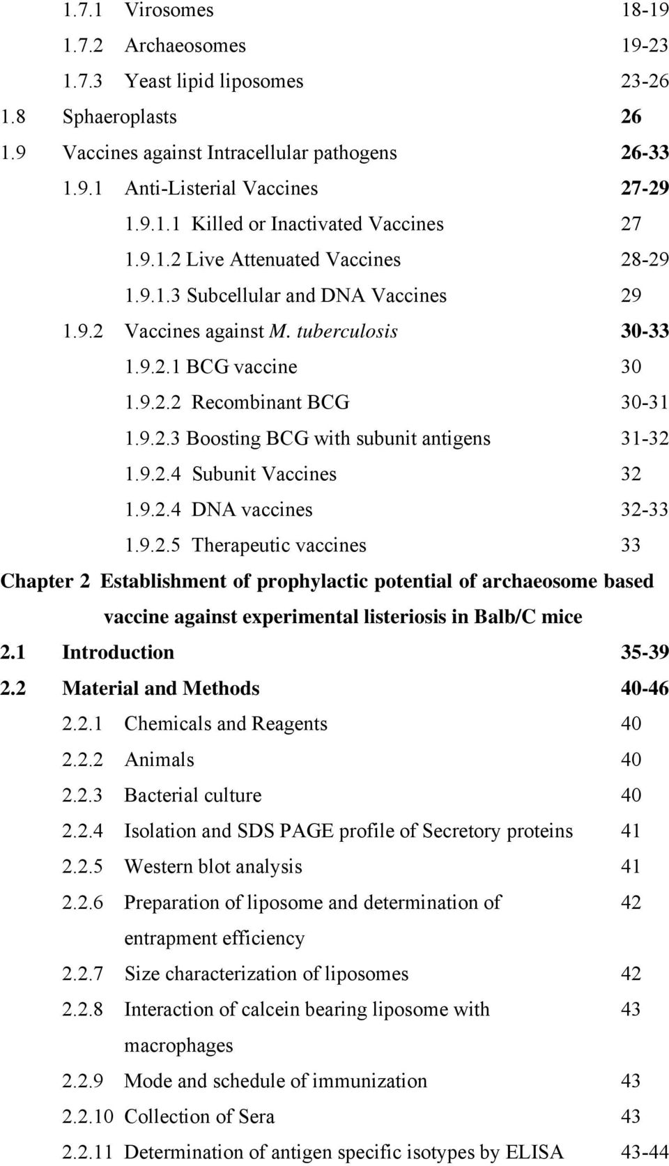 9.2.4 Subunit Vaccines 32 1.9.2.4 DNA vaccines 32-33 1.9.2.5 Therapeutic vaccines 33 Chapter 2 Establishment of prophylactic potential of archaeosome based vaccine against experimental listeriosis in Balb/C mice 2.