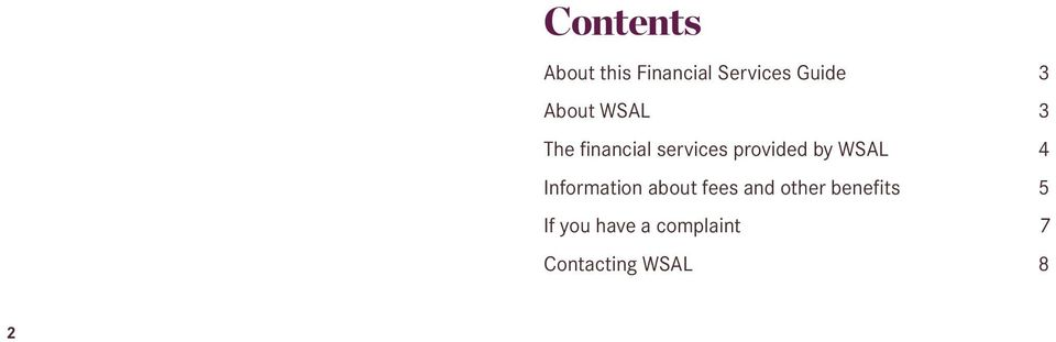 WSAL Information about fees and other benefits