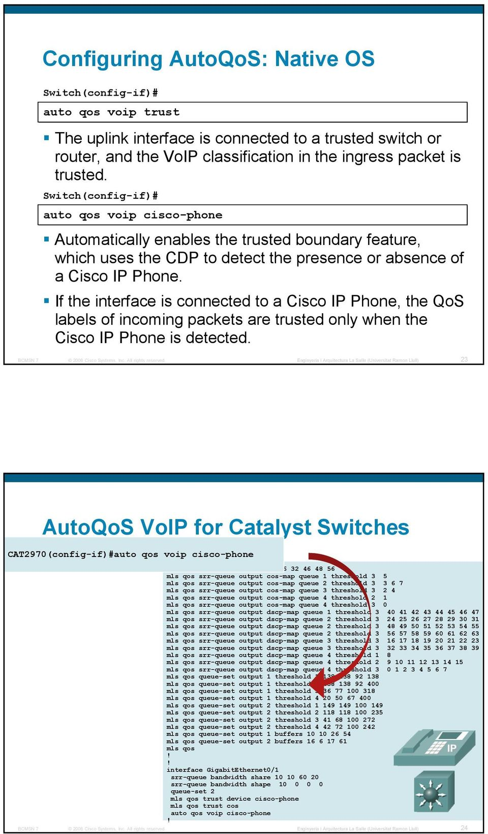 If the interface is connected to a Cisco IP Phone, the QoS labels of incoming packets are trusted only when the Cisco IP Phone is detected.