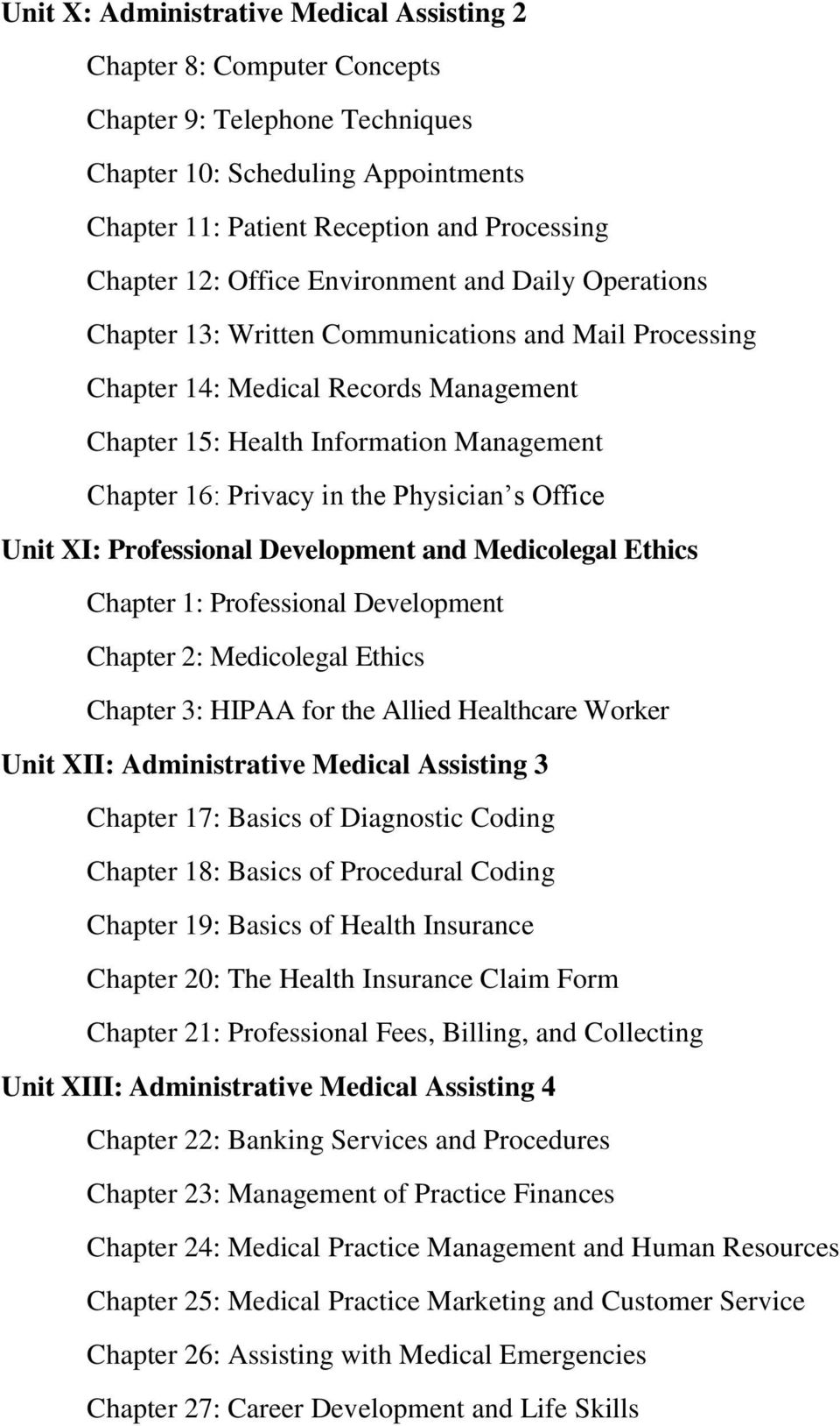 the Physician s Office Unit XI: Professional Development and Medicolegal Ethics Chapter 1: Professional Development Chapter 2: Medicolegal Ethics Chapter 3: HIPAA for the Allied Healthcare Worker