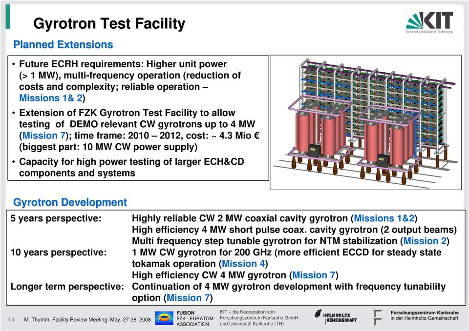 3 Mio (biggest part: 10 MW CW power supply) Capacity for high power testing of larger ECH&CD components and systems Gyrotron Development 5 years perspective: Highly reliable CW 2 MW coaxial cavity