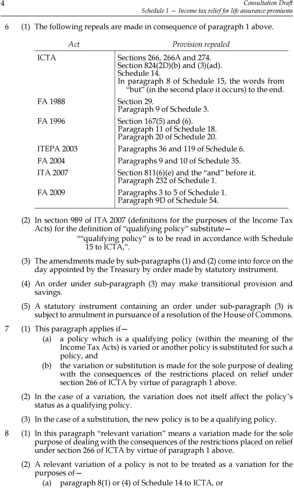 FA 1988 Section 29. Paragraph 9 of Schedule 3. FA 1996 Section 167(5) and (6). Paragraph 11 of Schedule 18. Paragraph 20 of Schedule 20. ITEPA 2003 Paragraphs 36 and 119 of Schedule 6.