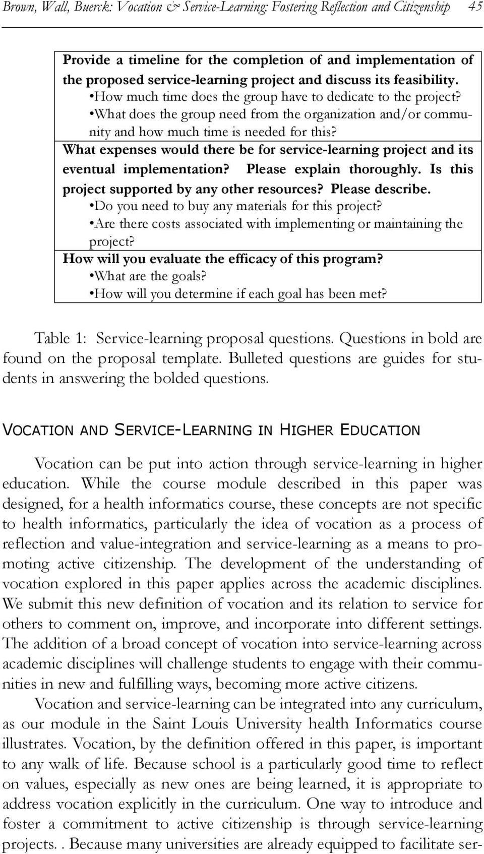 What expenses would there be for service-learning project and its eventual implementation? Please explain thoroughly. Is this project supported by any other resources? Please describe.