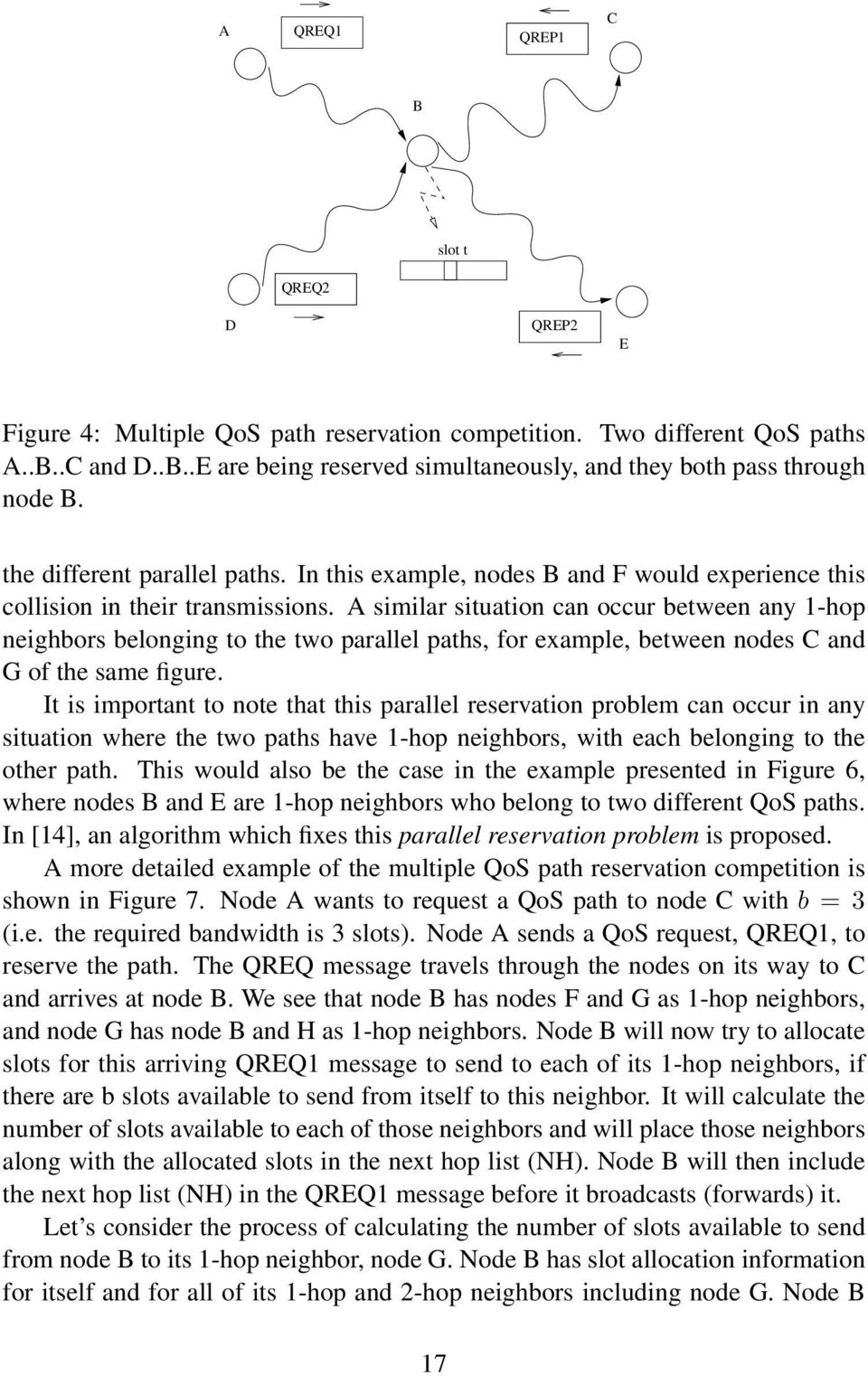 A similar situation can occur between any 1-hop neighbors belonging to the two parallel paths, for example, between nodes C and G of the same figure.