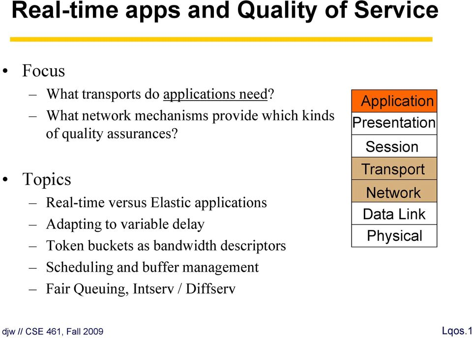 Topics Real-time versus Elastic applications Adapting to variable delay Token buckets as bandwidth