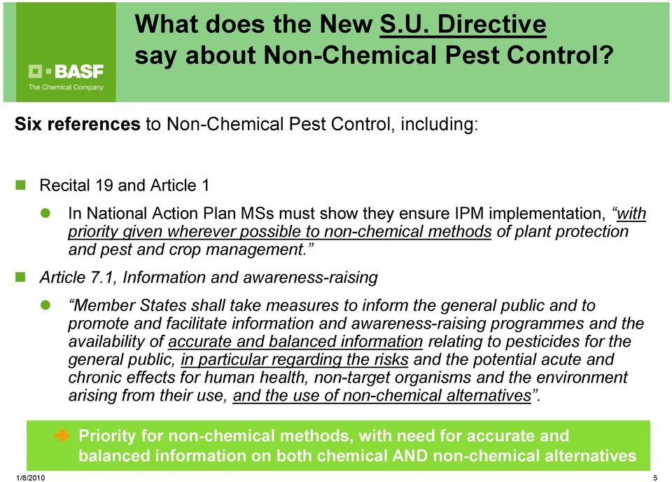 non-chemical methods of plant protection and pest and crop management. Article 7.