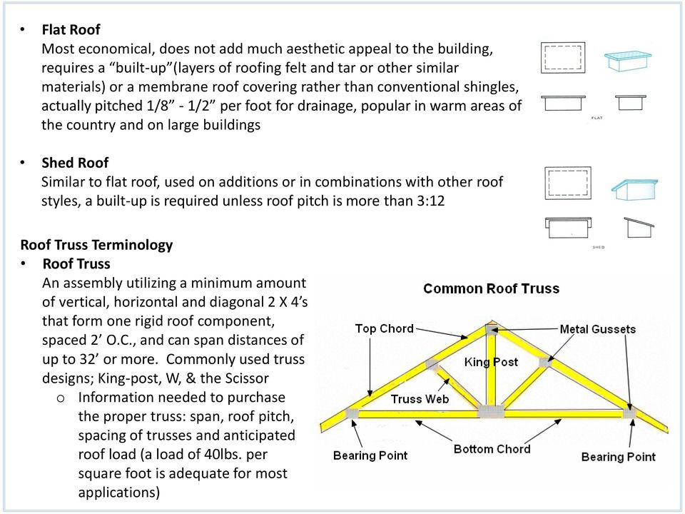 with other roof styles, a built-up is required unless roof pitch is more than 3:12 Roof Truss Terminology Roof Truss An assembly utilizing a minimum amount of vertical, horizontal and diagonal 2 X 4