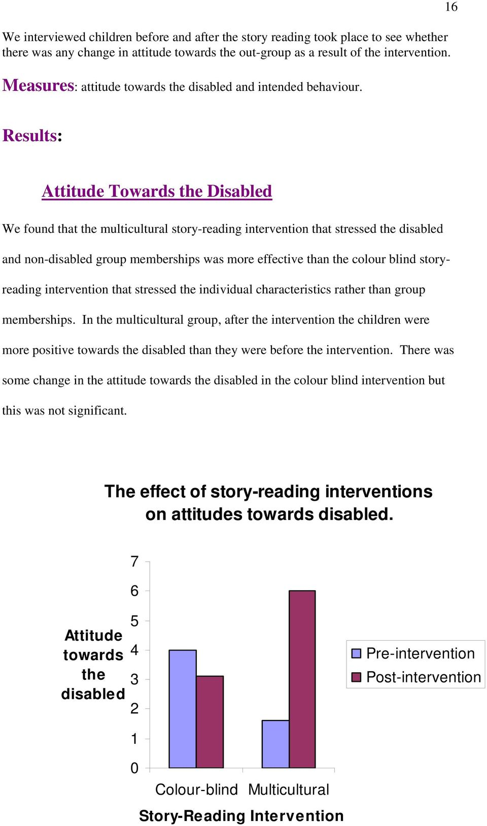 16 Results: Attitude Towards the Disabled We found that the multicultural story-reading intervention that stressed the disabled and non-disabled group memberships was more effective than the colour