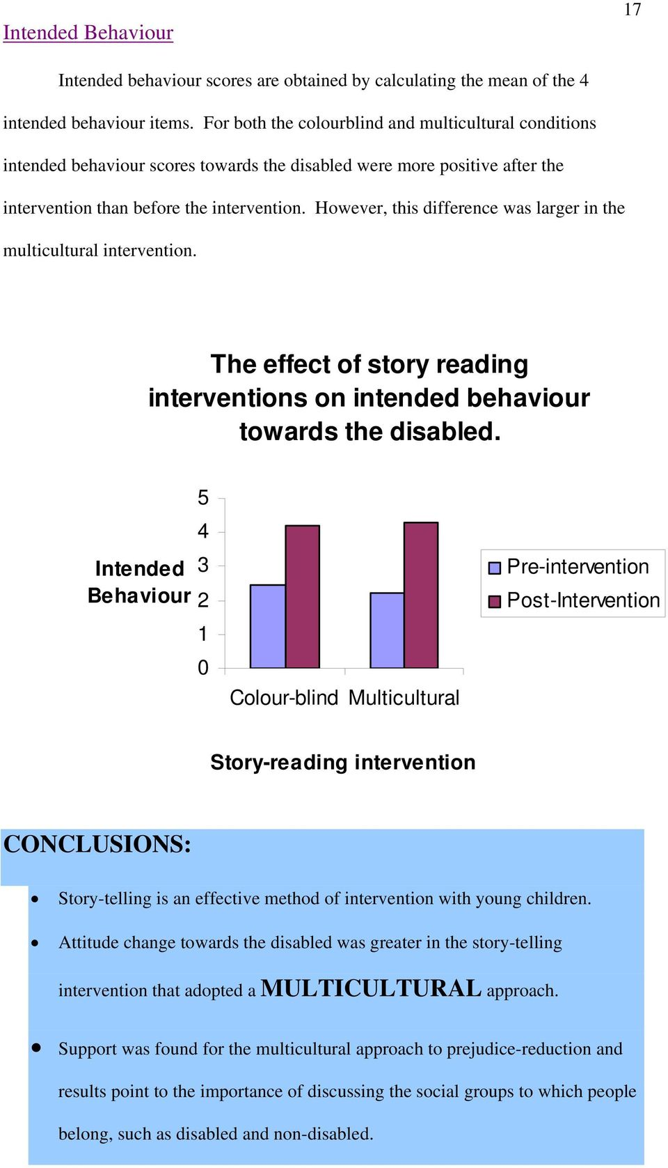 However, this difference was larger in the multicultural intervention. The effect of story reading interventions on intended behaviour towards the disabled.