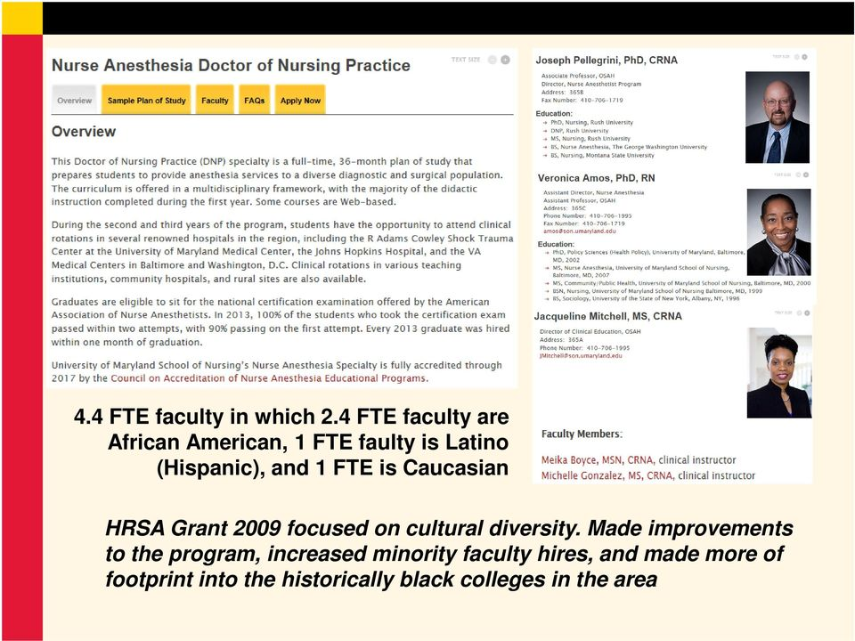 FTE is Caucasian HRSA Grant 2009 focused on cultural diversity.