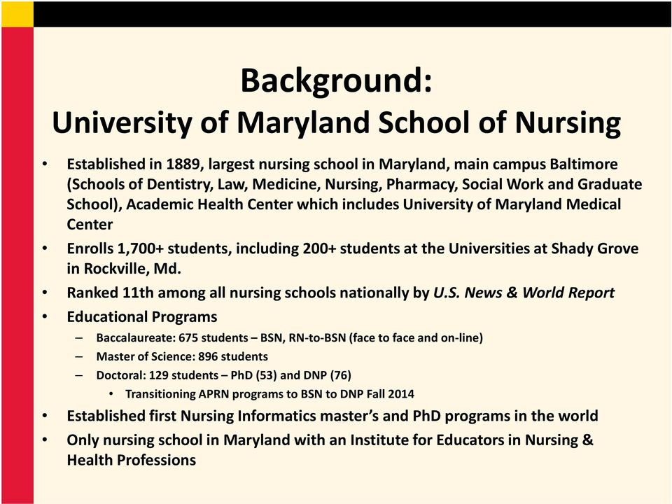 Rockville, Md. Ranked 11th among all nursing schools nationally by U.S.