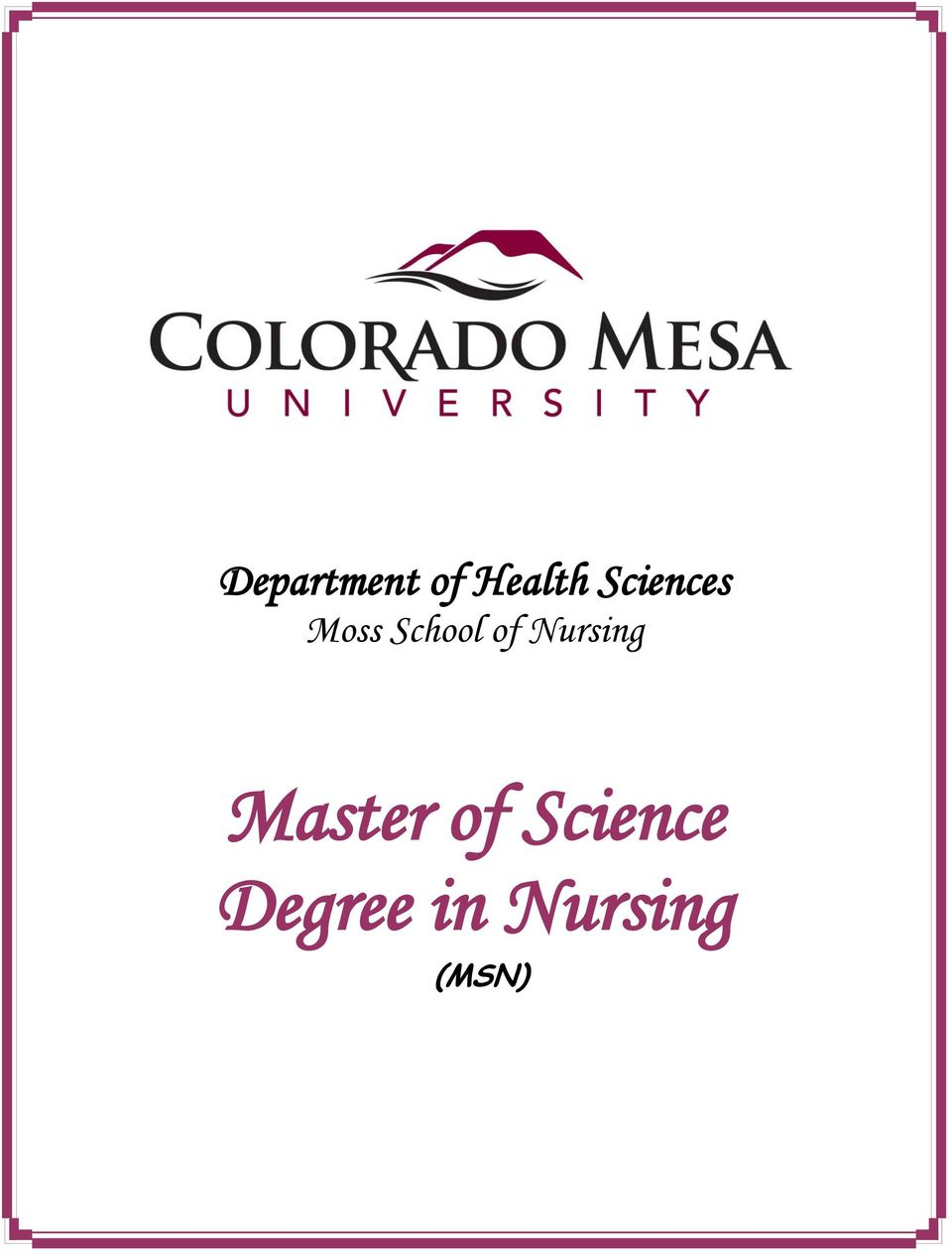 Nursing Master of
