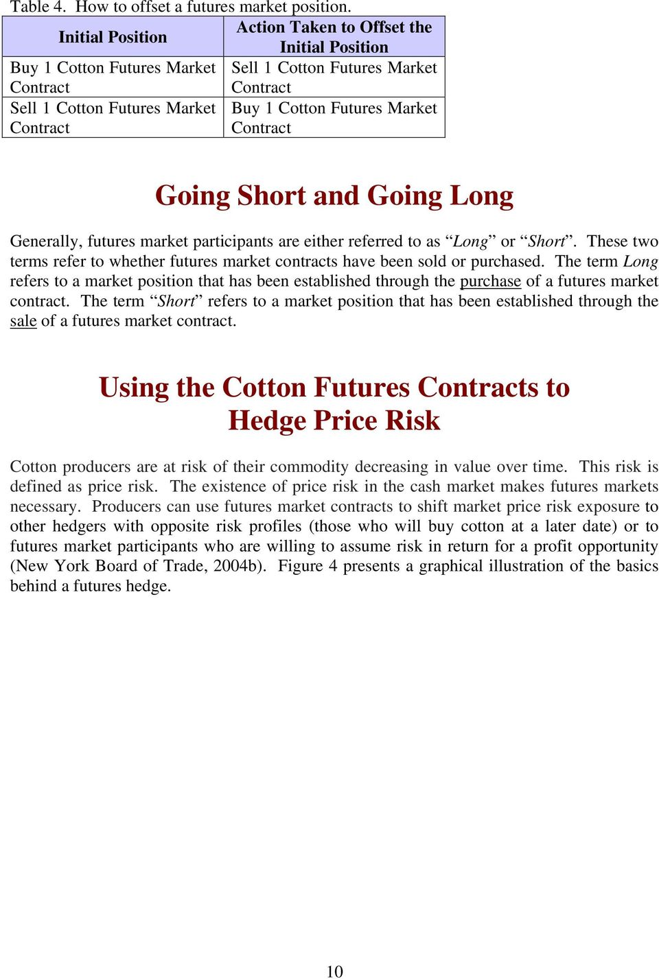 Contract Contract Going Short and Going Long Generally, futures market participants are either referred to as Long or Short.