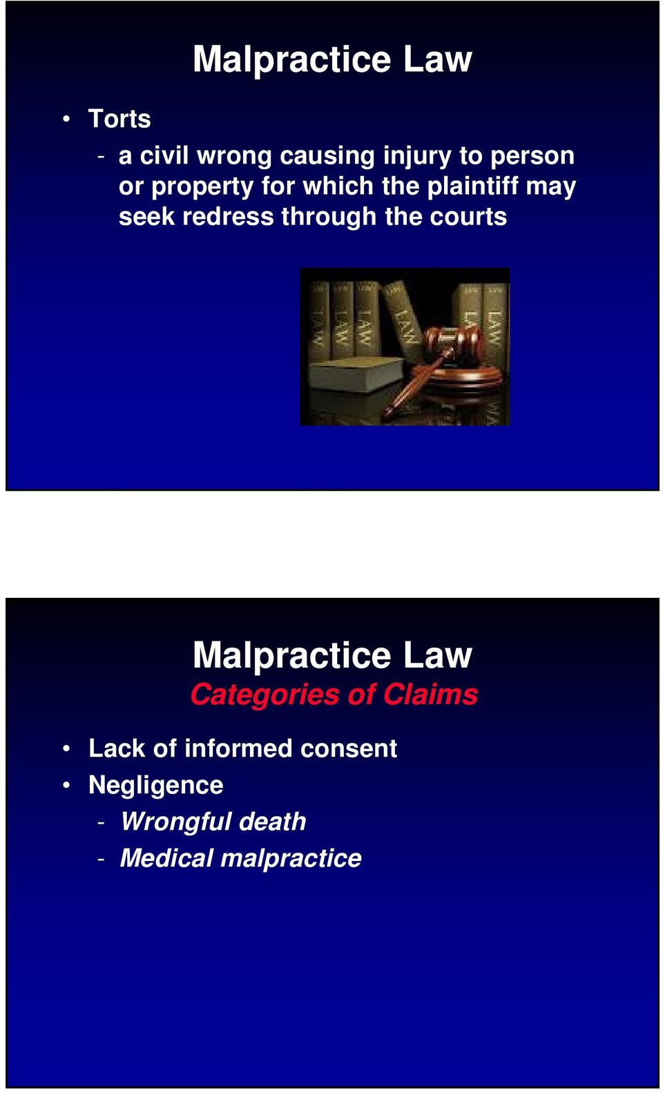through the courts Malpractice Law Categories of Claims Lack